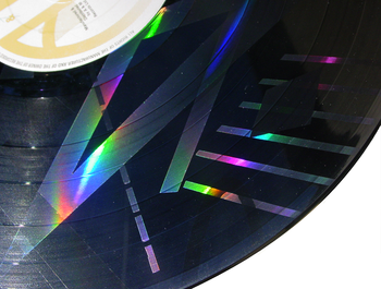 Close up of Split Enz's etched 'True Colours' LP