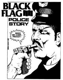 Pettibon's drawing of a police officer being h...